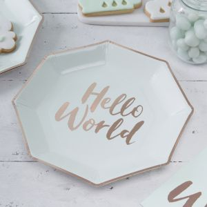 Hello World Babyshower Bordjes mint-roségoud (8st) Ginger Ray