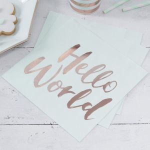 Hello World Babyshower Servetten mint-roségoud (20st) Ginger Ray