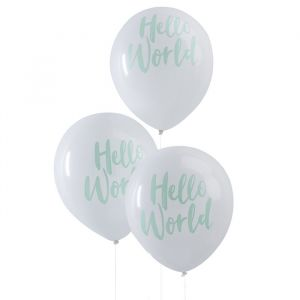 Hello World Babyshower Ballonnen mint-wit (10st) Ginger Ray