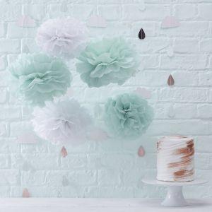 Hello World Pompons pakket mint-wit (5st) Ginger Ray