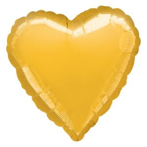 Folieballon hart goud (43cm)