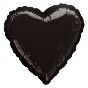 Folieballon hart zwart (43cm)