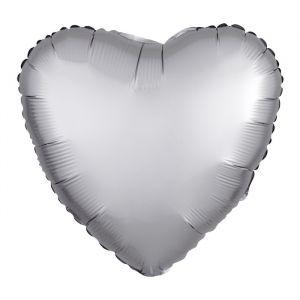 Folieballon Satin Luxe hart zilver (43cm)