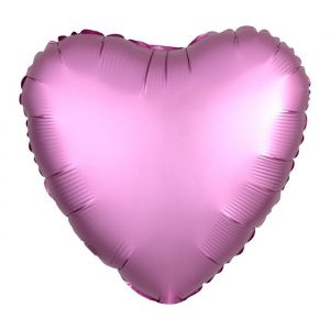 Folieballon Satin Luxe hart roze (43cm)