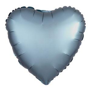 Folieballon Satin Luxe hart steel blue (43cm)