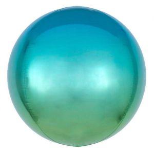 Folieballon Ombré Blauw & Groen 40cm