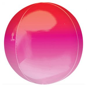 Orbz folieballon ombre rood & roze (40cm)