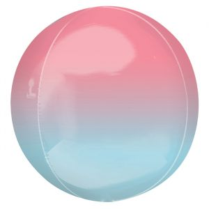 Orbz folieballon ombre pastel roze & blauw (40cm)
