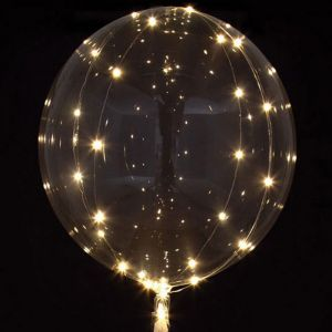 Transparante Orbz ballon met LED-lampjes (45cm)