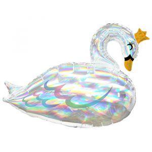 Folieballon zwaan iridescent