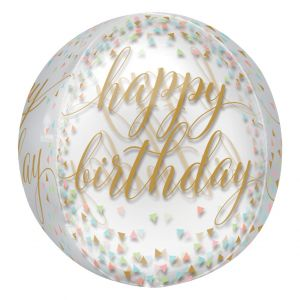Orbz Folieballon Happy Birthday pastel confetti (40cm)