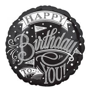 Folieballon Happy Birthday krijtbord (43cm)
