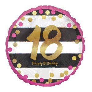 Folieballon 18 jaar roze (43cm)