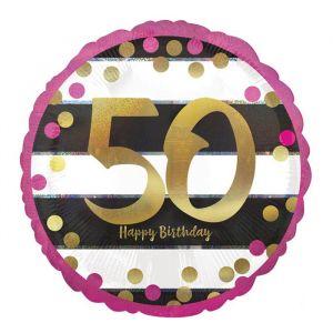 Folieballon 50 jaar roze (43cm)