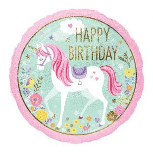 Folieballon Happy Birthday Unicorn (55cm)