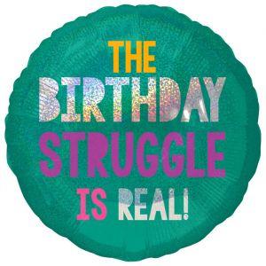 Folieballon Birthday Struggle (55cm)