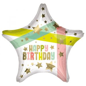 Folieballon Happy Birthday Gold Stars (40cm)