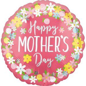 Folieballon Happy Mother's Day Wreath (40cm)