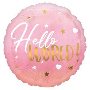 Folieballon Hello world roze (40cm)
