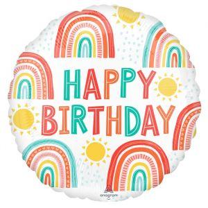 Folieballon Happy Birthday Rainbow (40cm)