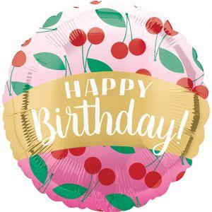 Folieballon Happy Birthday Cherries (40cm)