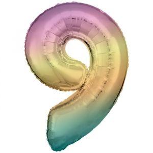 XL Folieballon 9 Pastel Rainbow (86cm)