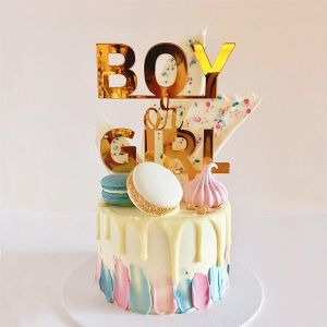 Gender reveal taarttopper boy or girl spiegelacryl goud