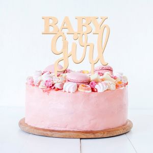 Taarttopper baby girl hout