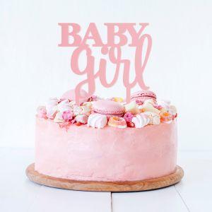 Taarttopper baby girl acryl roze