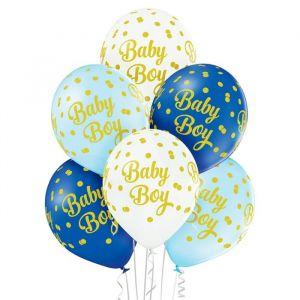 Ballonnen Baby Boy dots (6st)