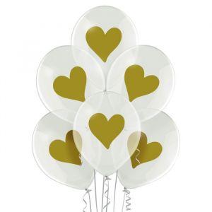 Transparante ballonnen Gold Hearts (6st)
