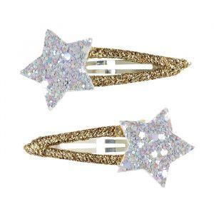 Haarclipjes Gosia sterren zilver-goud (2st) Souza