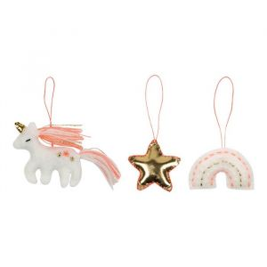 Kerstboomdecoratie unicorn set (3st) Meri Meri