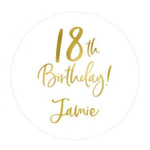 Etiket 35 mm rond birthday goud 18