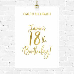Verjaardag poster birthday goud 18