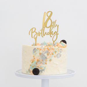 Taarttopper verjaardag birthday goud 18