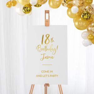 Welkomstbord verjaardag birthday goud 18