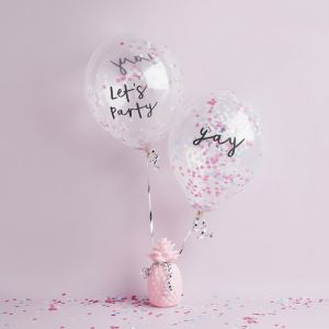 Confetti Ballonnen Pastel Let's Party&Yay (5st) Hootyballoo