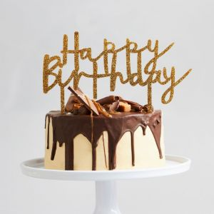 Taarttopper Acryl Goud Happy Birthday Hootyballoo
