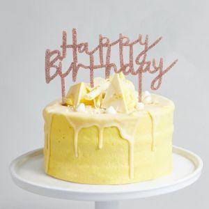 Taarttopper Acryl Roségoud Happy Birthday Hootyballoo