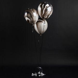 Zwarte marble ballonnen Blast Off (5st) Hootyballoo