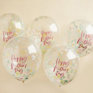 Confetti ballonnen Happy Mother's Day (5st) Hootyballoo