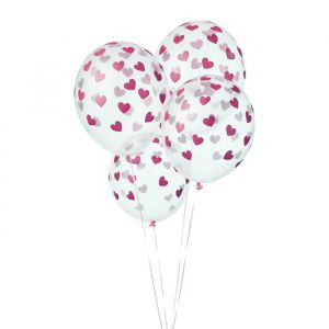 Transparante ballonnen hartjes fuchsia (6st)