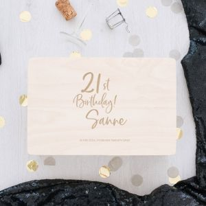 Houten memorybox birthday goud 21 jaar