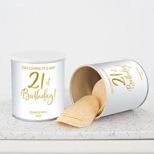 Chipsblikje verjaardag birthday goud 21