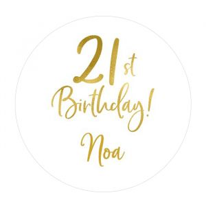 Etiket 35 mm rond birthday goud 21