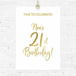 Verjaardag poster birthday goud 21