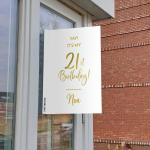 Raambord verjaardag birthday goud 21