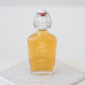 Whiskey beugelfles met naam birthday goud 21