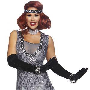 Extra lange handschoenen satijn zwart Leg Avenue